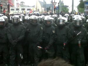 The masked black block in Frankfurt.